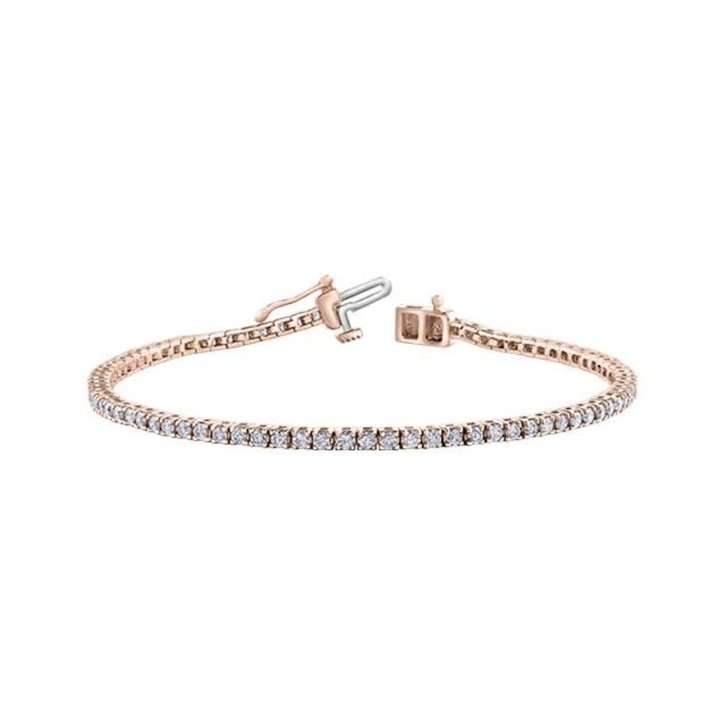 10K Rose Gold (2.00ct) Diamond Tennis Bracelet