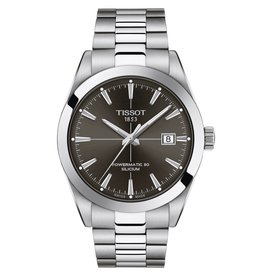 Tissot Tissot Gentlement Powermatic 80 Silicium Silver Tone Black Dial Watch