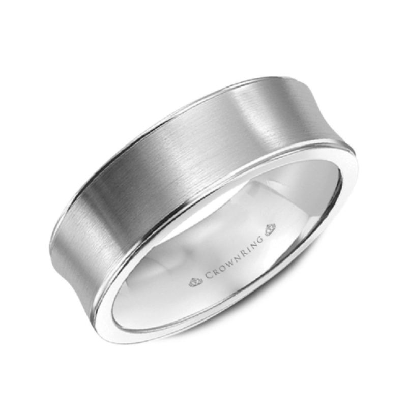 Crown Ring 10K White Gold (7mm) Brushed Concave Mens Band