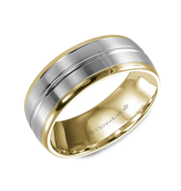 Crown Ring 10K White and Yellow Gold (8mm) Brushed Mens Band