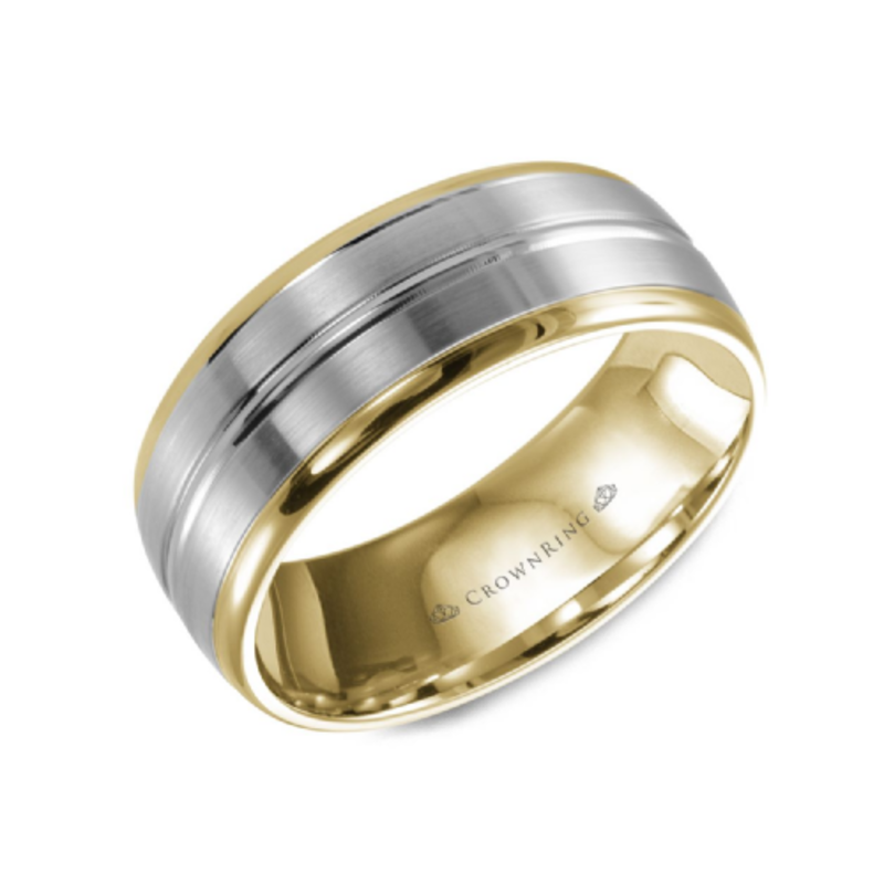 Crown Ring 10K Yellow and White Gold (8mm) Sandpaper and High Polished Wedding Band