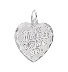 Nuco Silver Rhodium Plated Mother We Love You Charm Pendant
