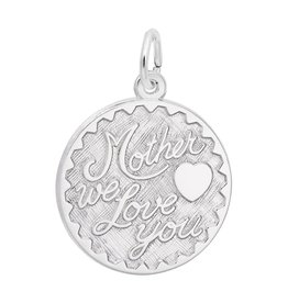 Silver Rhodium Plated Mother We Love You Charm Pendant