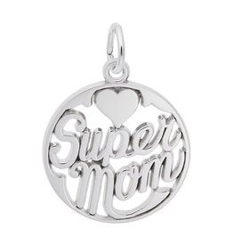 Nuco Silver Rhodium Plated Super Mom Charm Pendant