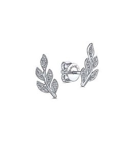 Gabriel & Co 14K White Gold Diamond Leaf Stud Earrings