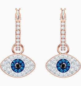 Swarovski Swarovski Symbolic Evil Eye Hoop Earrings, Blue, Rose Gold Tone Plated