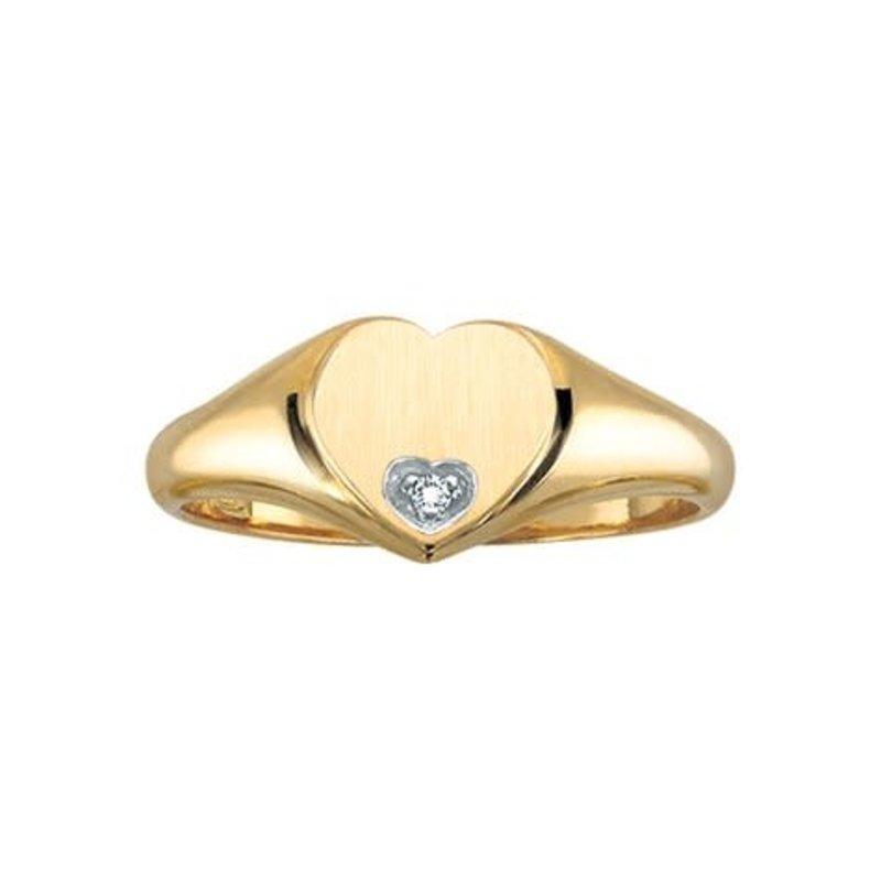 10K Yellow Gold (0.01ct) Diamond Heart Shaped Signet Ring