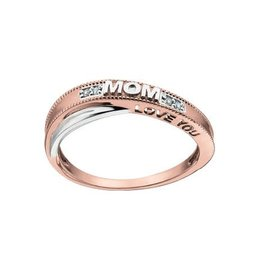 "10K Two Tone Rose and White Gold (0.02ct) Diamond ""Love You Mom"" Ring"