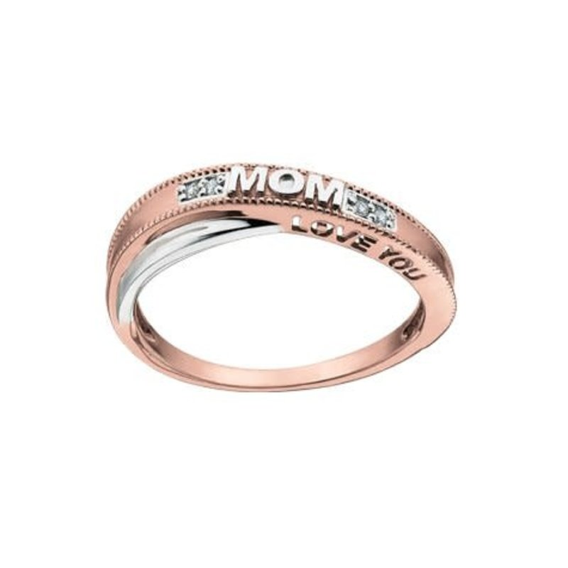 """10K Two Tone Rose and White Gold (0.02ct) Diamond """"Love You Mom"""" Ring"""