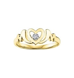 10K Yellow Gold Diamond Heart MOM Ring