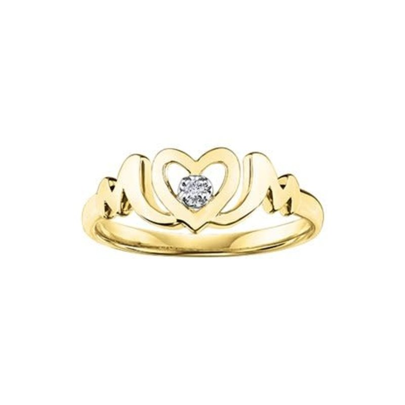 "10K Yellow Gold (0.015ct) Diamond Heart ""MOM"" Ring"