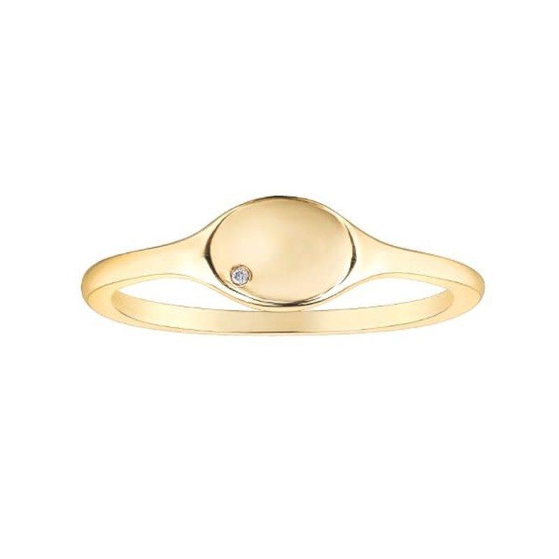 10K Yellow Gold (0.01ct) Diamond Oval Shaped Signet Ring