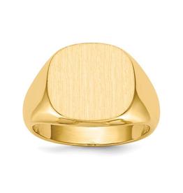 14K Yellow Gold Mens Open Back Signet Ring