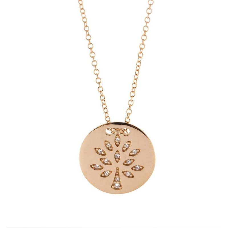 10K Rose Gold Tree of Life CZ Necklace