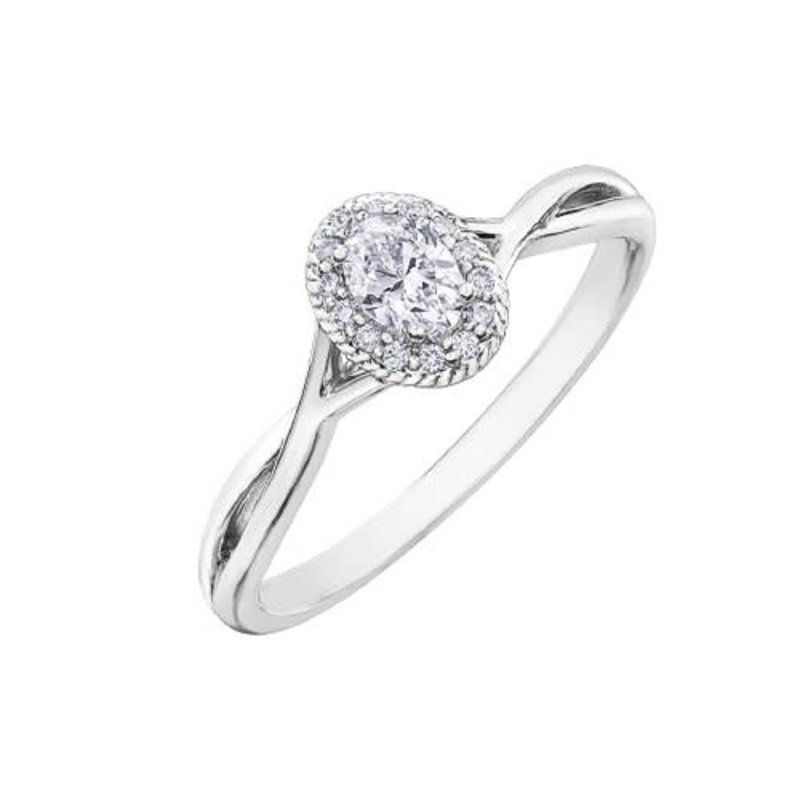 10K White Gold (0.25ct) Oval Diamond Halo Infinity Engagement Ring