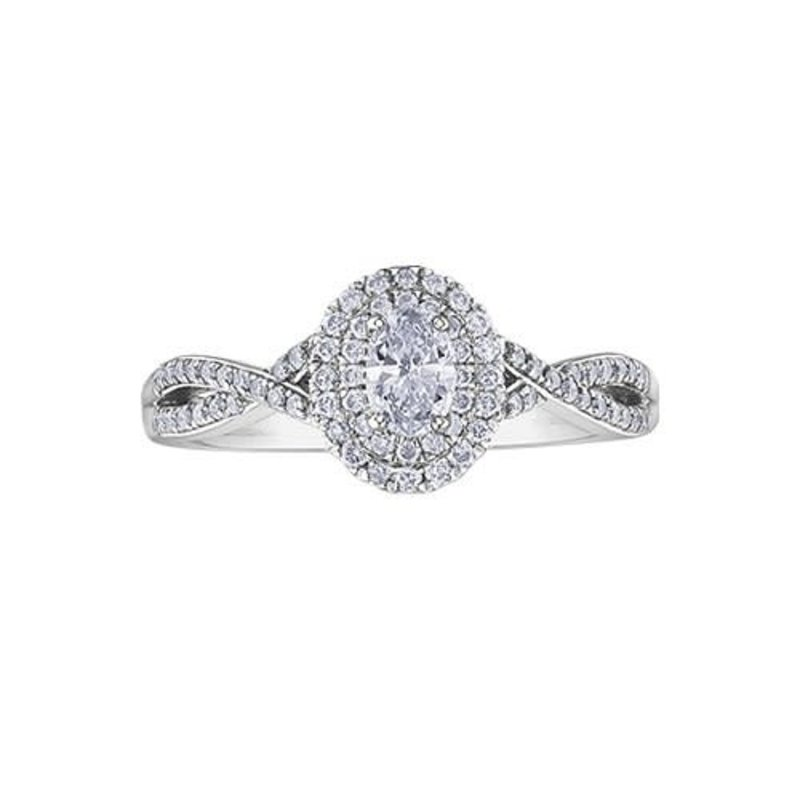 10K White Gold (0.50ct) Oval Diamond Double Halo Infinity Engagement Ring