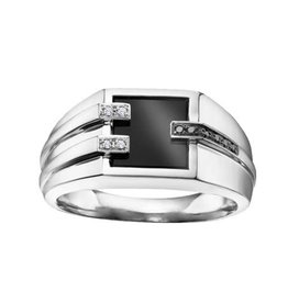 10K White Gold Onyx with Diamonds and Black Diamonds Men's Ring