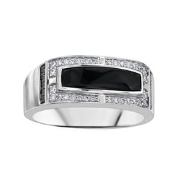 10K White Gold Onyx with Diamonds and Black Diamonds Men's Ring