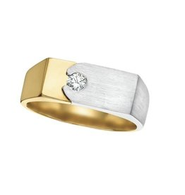 Maple Leaf Diamonds 10K Two Tone Yellow and White Gold (0.15ct) Canadian Diamond Men's Ring