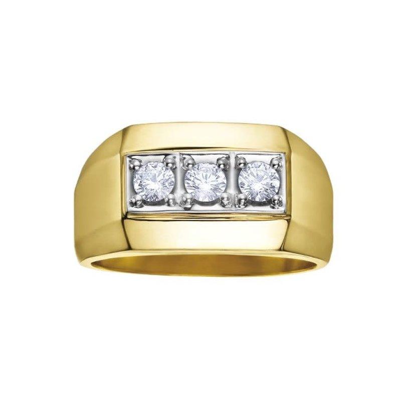 10K Yellow Gold (0.50ct) Three Stone Diamond Men's Ring