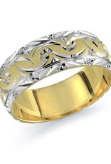 10K Yellow and White Gold (8mm) Carved Band