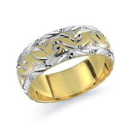 Malo 10K Yellow and White Gold (8mm) Brushed and Laser Carved Wedding Band
