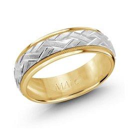 Malo 10K White and Yellow Gold (7mm) Weave Pattern Wedding Band