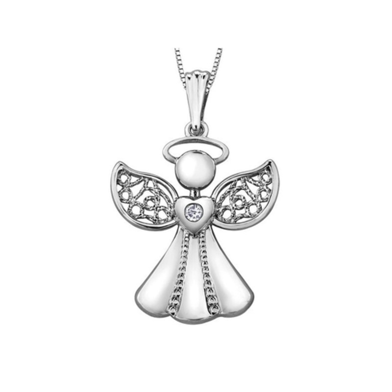 Forever Jewellery 10K White Gold (0.015ct) Diamond Angel Pendant