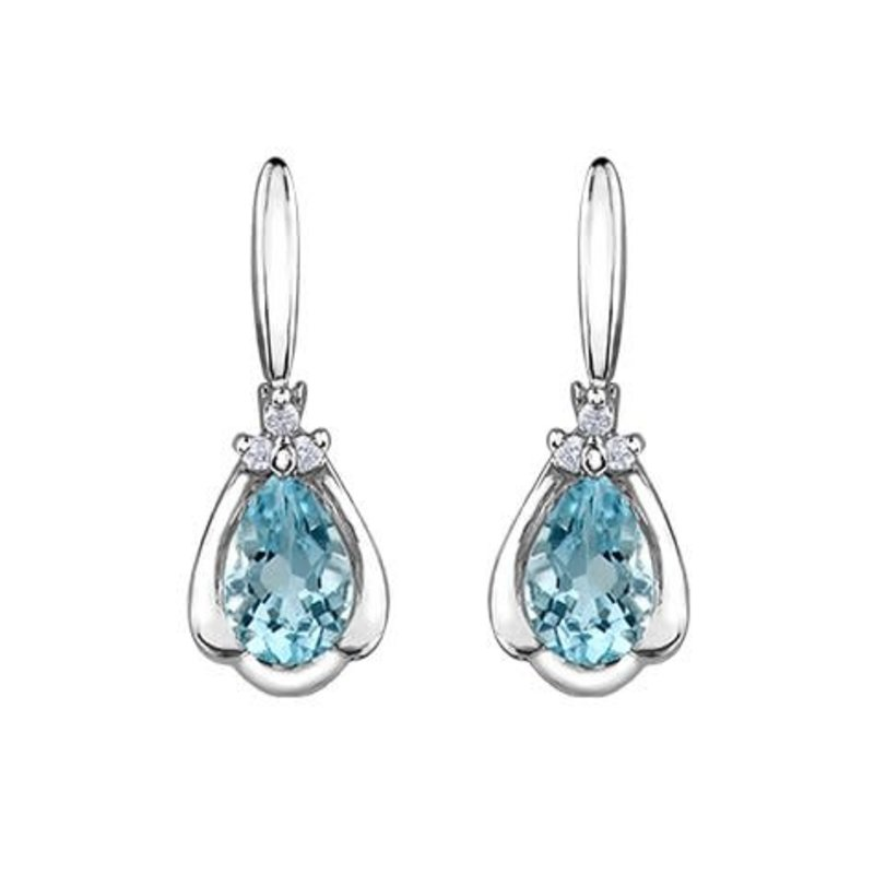 10K White Gold Aquamarine & Diamond Earrings White Gold