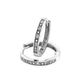 10K White Gold (0.05ct) Diamond Hoop Earrings