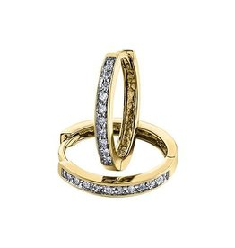 10K Yellow Gold (0.05ct) Diamond Hoop Earrings
