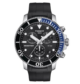 Tissot Seastar 1000 Chronograph Men's Black Dial Rubber Black Strap Watch