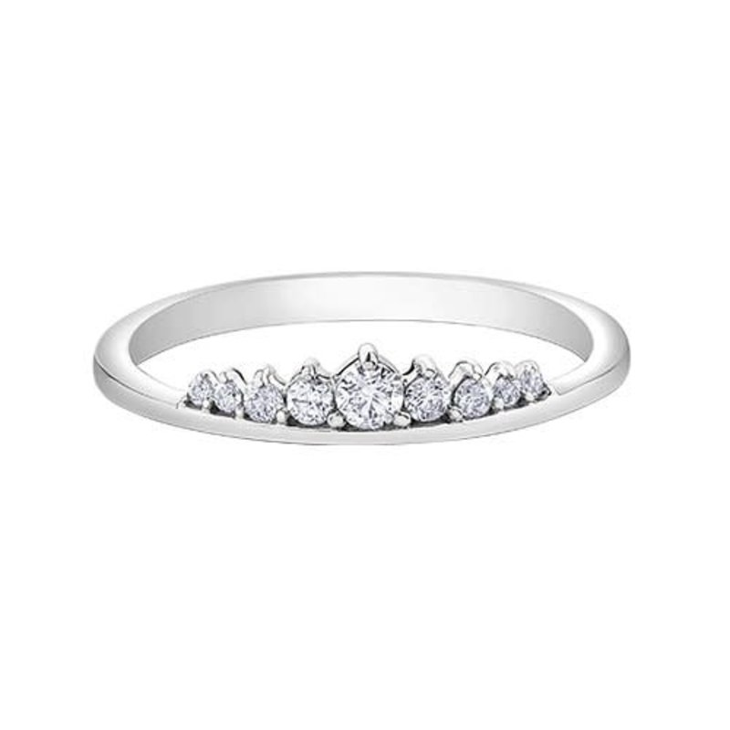 10K White Gold (0.15ct) Diamond Stackable Wedding Band