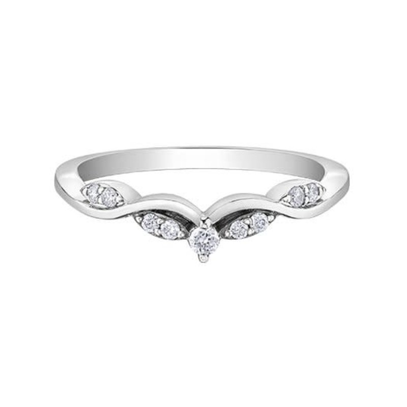 10K White Gold (0.11ct) Diamond Stackable Chevron Wedding Band