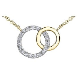 10K Yellow and White Gold (0.10ct) Diamond Soulmate Necklace