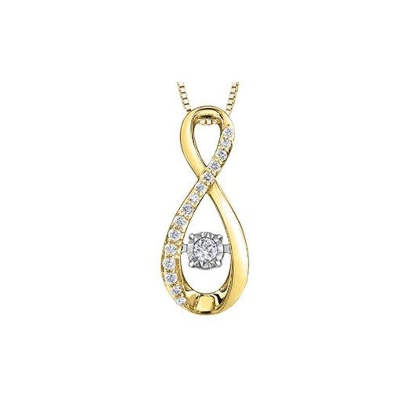 10K Yellow and White Gold (0.10ct) Illusion Setting Dancing Diamond Infinity Pendant