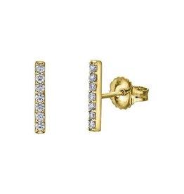 10K Yellow Gold Bar (0.07ct) Diamond Stud Earrings