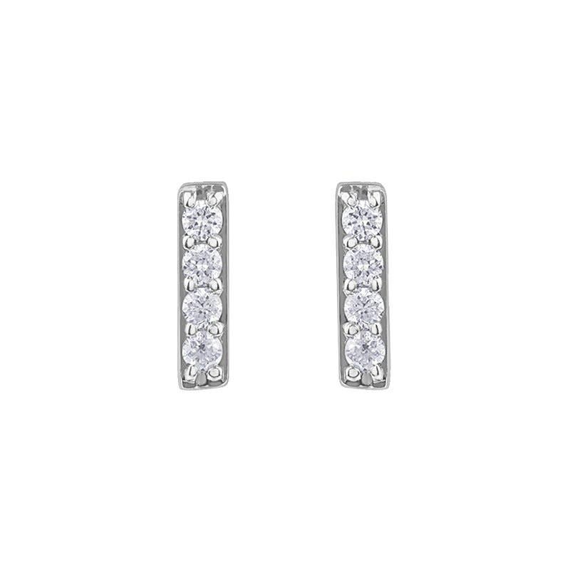 10K White Gold Bar (0.07ct) Diamond Stud Earrings