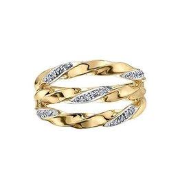 10K Yellow Gold (0.12ct) Diamond Fancy Twist Wide Band Ring