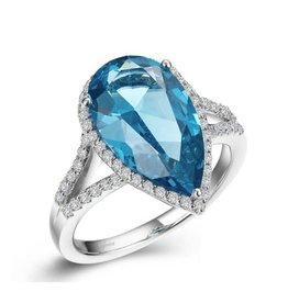 Lafonn Lafonn Sterling Silver Platinum Plated Simulated Diamond Pear Shaped Paraiba Tourmaline Ring
