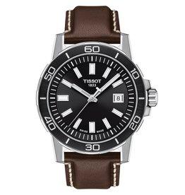 Tissot Tissot Supersport Men's Silver Tone Black Dial Brown Leather Strap Watch