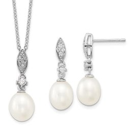 Silver Rhodium Plated Freshwater Pearl with CZ Necklace and Earrings Set