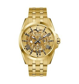 Bulova Bulova Sutton Men's Gold Tone Automatic Skeleton Watch