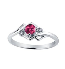 10K White Gold (July) Ruby and Diamond Ring