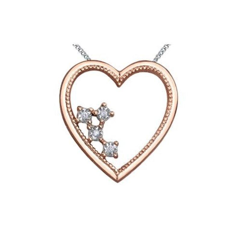 10K Rose White Gold Dimond Heart Pendant