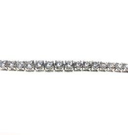 "Sterling Silver Graduated Cubic Zirconia Bracelet 7"""
