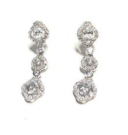 Sterling Silver Vintage Style CZ Dangle Earrings