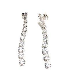 Sterling Silver Graduated CZ Dangle Earrings