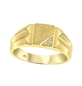 10K Yellow Gold (0.01ct) Diamond Boy's Signet Ring