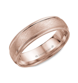 Crown Ring 10K Rose Gold (6mm) Textured Center and Milgrain Edge Band